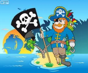 puzzel Tekening van Piraat kapitein