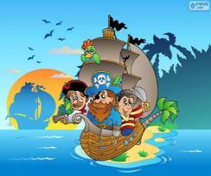puzzel Tekening van piratenschip