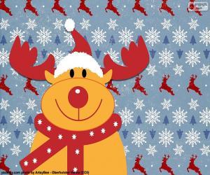 puzzel Tekening van rendieren Rudolph