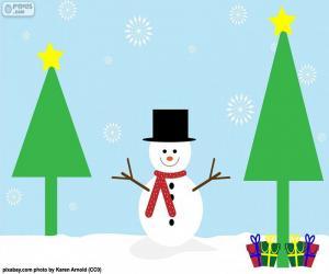 puzzel Tekening van sneeuwpop
