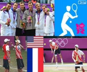 puzzel Tennis mannen dubbelspel podium dubbele man, Bob Bryan en Mike Bryan (Verenigde Staten), Michael Llodra, Jo-Wilfried Tsonga en Julien Benneteau, Richard Gasquet (Frankrijk) - Londen 2012-