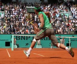 puzzel Tennis match met toeschouwers op de tribunes