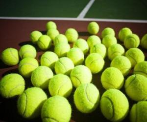puzzel Tennisballen op de rechter