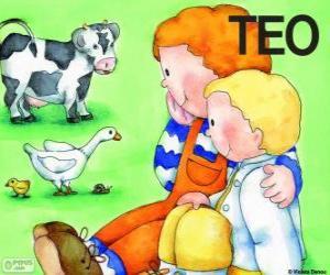 puzzel Teo en zijn zus Clara met dieren