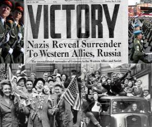 puzzel Ter herdenking van de geallieerde overwinning op het nazisme en het einde van de Tweede Wereldoorlog. Dag van de Overwinning, 08 mei 1945