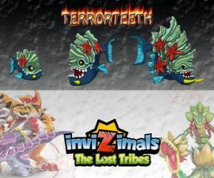 puzzel Terrorteeth, laatste evolutie. Invizimals The Lost Tribes. Aquatische Invizimal die zeer snel eet en die bijt alles