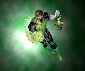 puzzel The Green Lantern, de superheld heeft een ring, die de macht is een van de meest krachtige wapens in het heelal