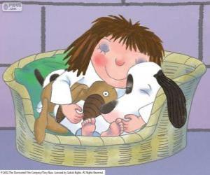 puzzel The Little Princess slapen met zijn hond Nekvel haar teddybeer