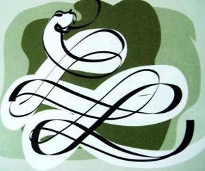 puzzel The Snake, het teken van de Slang, Jaar van de Slang. De zesde van de Chinese horoscoop tekenen