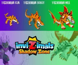 puzzel Tigershark Cub, Tigershark Scout, Tigershark Max. Invizimals Shadow Zone. Warriors of legende in India en Sri Lanka