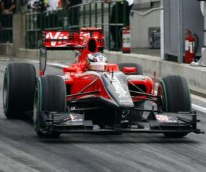 puzzel Timo Glock - Virgin - 2010 Hongaarse Grand Prix
