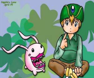 puzzel TK en zijn Digimon Tokomon, Takeru Takaishi is de jongste van de groep en een jongere broer van Matt