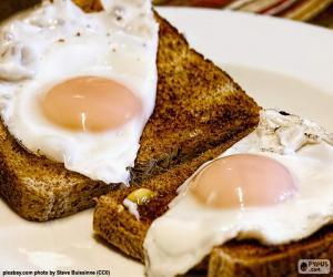 puzzel Toast met gebakken eieren