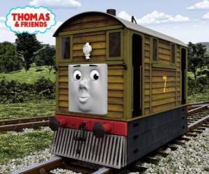 puzzel Toby is de bruine tramlocomotief nummer 7