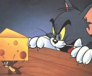 puzzel Tom de kat verrast Jerry de muis om het nemen van een stukje kaas