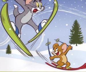 puzzel Tom en Jerry in de sneeuw met skis