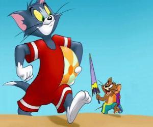 puzzel Tom en Jerry op het strand