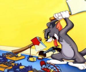 puzzel Tom probeerde om de muis Jerry te vangen