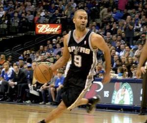 puzzel Tony Parker speelt een basketbalwedstrijd