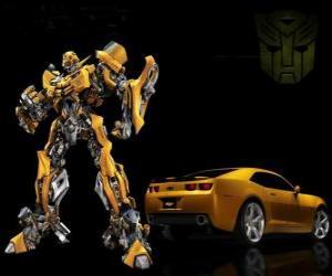 puzzel Transformers, de auto en de robot in die het transformeert