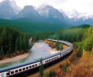 puzzel Trein passagiers in een bergachtig landschap