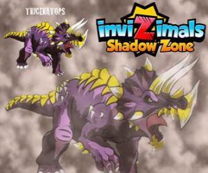 puzzel Triceratops. Invizimals Shadow Zone. Invizimals herbivore met grote kracht en moed