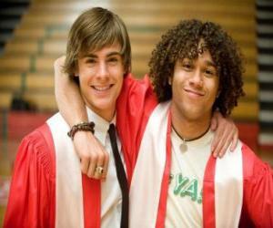puzzel Troy Bolton (Zac Efron) en Chad (Corbin Bleu) de dag van de graduatie