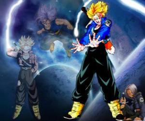 puzzel Trunks is half mens, half Saiyan, Vegeta en Bulma's zoon en broer van Bra. In de toekomst, de enige overgebleven Saiyajin goed als de beschermer van de aarde.