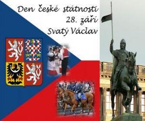 puzzel Tsjechische Nationale Dag. 28 september St. Wenceslas, de patroonheilige van de Tsjechische Republiek