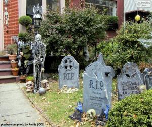 puzzel Tuin ingericht voor Halloween