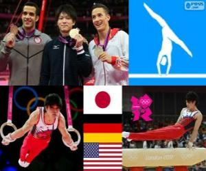 puzzel Turnen-Mannen artistieke individuele meerkamp podium, Kohei Uchimura (Japan), Marcel Nguyen (Duitsland) en Danell Leyva (Verenigde Staten) - Londen 2012-