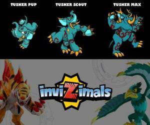 puzzel Tusker in drie fasen Tusker Pup, Tusker Scott en Tusker Max, Invizimals