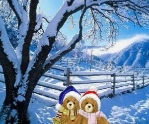 puzzel twee beren erg warm in een kerst landschap