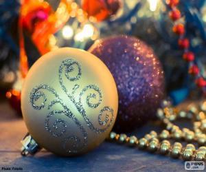 puzzel Twee elegante ballen Kerstmis