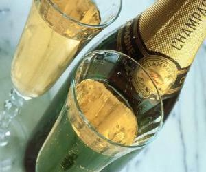 puzzel Twee glazen champagne