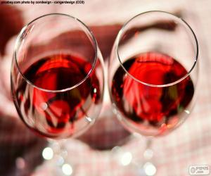 puzzel Twee glazen wijn