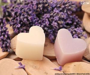 puzzel Twee harten met lavendel