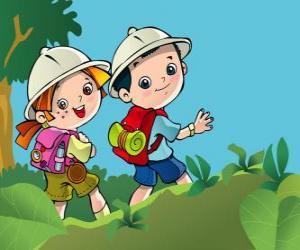 puzzel Twee jonge ontdekkingsreizigers op expeditie