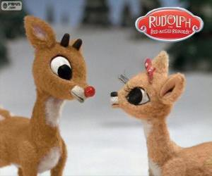 puzzel Twee jonge rendieren Rudolph en Fireball