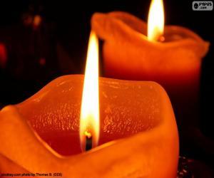 puzzel Twee Kerstmis kaarsen