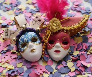 puzzel Twee maskers en confetti