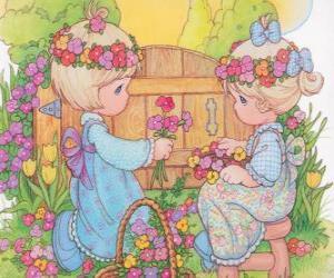 puzzel Twee meisjes verzamelen bloemen. Precious Moments