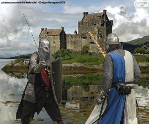 puzzel Twee ridders die in slag vechten