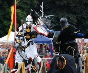puzzel Twee ridders te paard deelnemen aan een toernooi