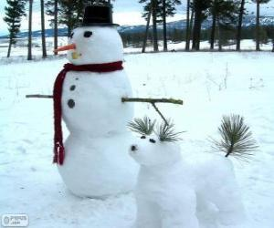 puzzel Twee sneeuwmannen