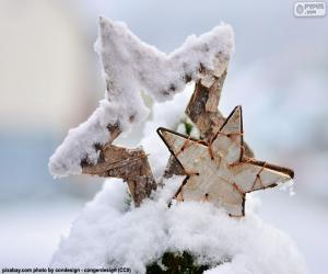 puzzel Twee sterren met sneeuw