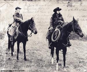 puzzel Twee vrouwen cowboy