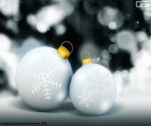 puzzel Twee witte ballen Kerstmis