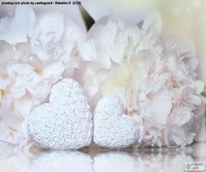 puzzel Twee witte hart