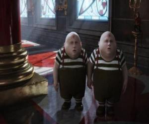 puzzel Tweedledee en Tweedledum tweeling die altijd vechten onderling